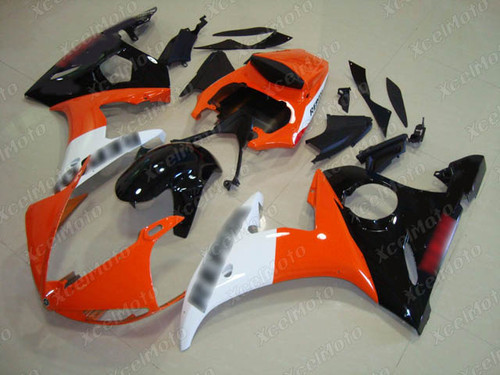 2003 2004 2005 Yamaha YZF R6 orange white and black fairing