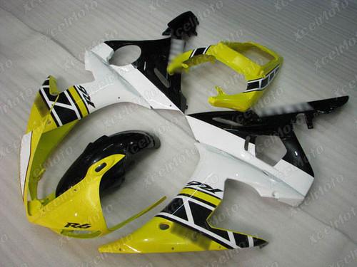 2003 2004 2005 Yamaha YZF R6 yellow white and black fairing