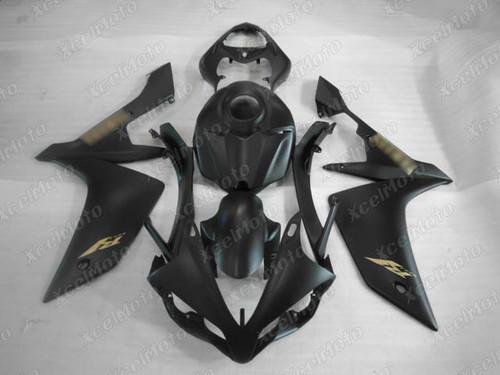 2007 2008 YAMAHA R1 matte black fairing gold decals