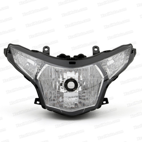 The motorcycle headlight/headlamp assembly kit for 2011 2012 2013 Honda CBR250R is a direct O.E.M. replacement and made to O.E.M. specification to fit and look just like the original.