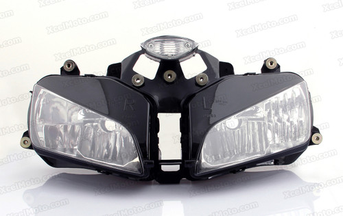 The motorcycle headlight/headlamp assembly kit for  2003 2004 2005 2006 Honda CBR600RR is a direct O.E.M. replacement and made to O.E.M. specification to fit and look just like the original.