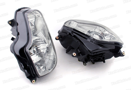 The motorcycle headlight/headlamp assembly kit for 2001 to 2010 Honda GL1800 Gold Wing is a direct O.E.M. replacement and made to O.E.M. specification to fit and look just like the original.