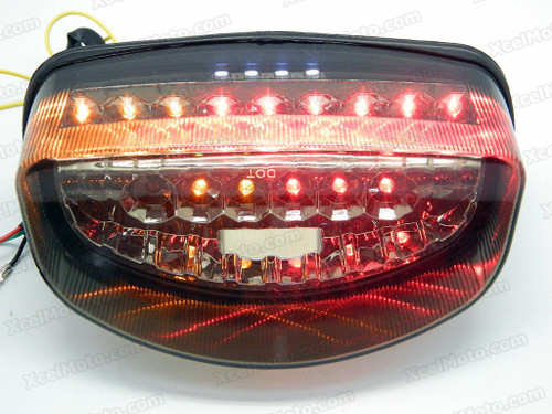 The LED turn signals integrated taillights assembly was compatible with 1997 1998 Honda CBR1100XX, this taillights combines tail lights and turn signals into one unit and are more functional.