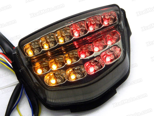 The LED turn signals integrated taillights assembly was compatible with 2008 2009 2010 2011 2012 Honda CBR1000RR, this taillights combines tail lights and turn signals into one unit and are more functional.