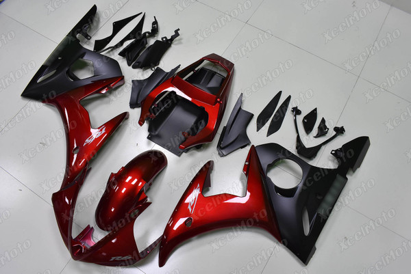 2003 2004 2005 Yamaha YZF R6 candy red and matte black fairing