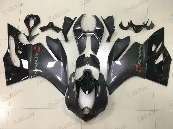 Ducati 899 1199 Panigale grey metallic grey and gloss black paint fairings