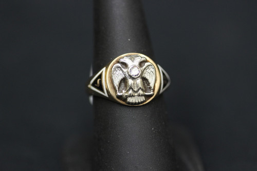 10k Yellow Gold 32nd Degree Scottish Rite Masonic Diamond Ring