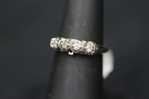 14K White Gold Vintage Art Deco Miracle Diamond Wedding Band - Sz 6