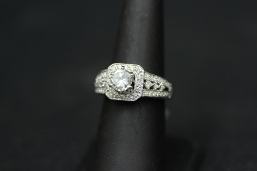 14K White Gold 1.76cttw Square Halo Setting Diamond Engagement Ring