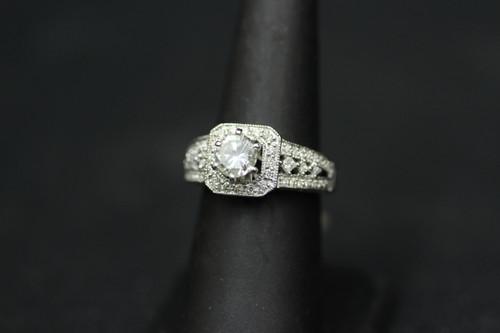 14K White Gold 1.76cttw Square Halo Setting Diamond Engagement Ring
