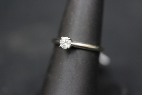 14K White Gold MagicGlo 0.29ct Round Diamond Solitaire Engagement Ring - Sz 6.5