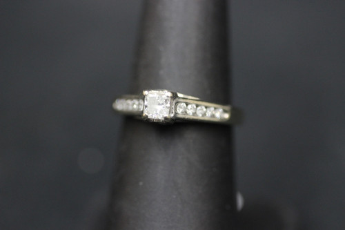 14K White Gold 0.77cttw Princess Cut & Diamond Accents Heart Engagement Ring