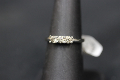 10K White Gold Three Stone Diamond Ring - Sz 6