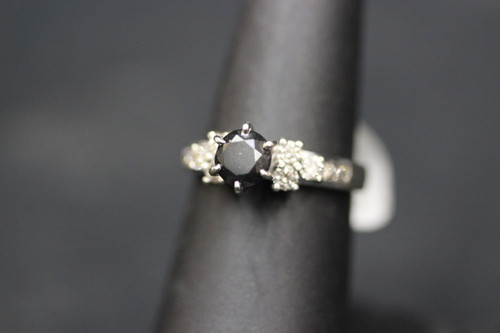 10K White Gold 0.70ct Black Diamond with Accents Engagement Ring