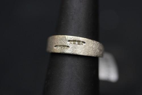 Women's 14K White Gold Vintage Brushed Wedding Band - Sz 6