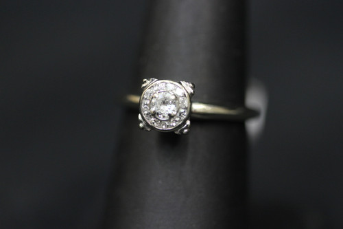 14K White Gold Halo Bezel Setting Diamond Ring - 0.48cttw