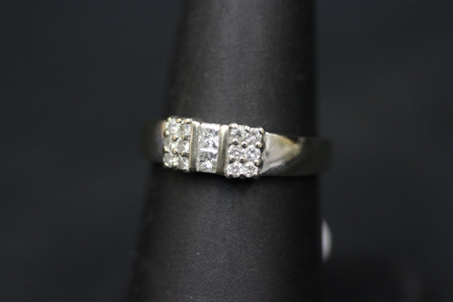 14K White Gold Bar Setting Diamond Ring - 0.56cttw