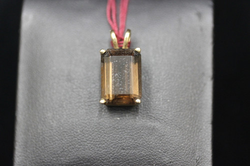 14K Yellow Gold ~7ct Emerald Cut Solitaire Brown Stone Pendant