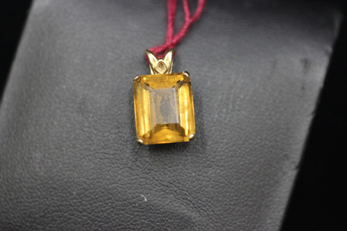 14K Yellow Gold Yellowish Brown Stone Filagree Setting Pendant