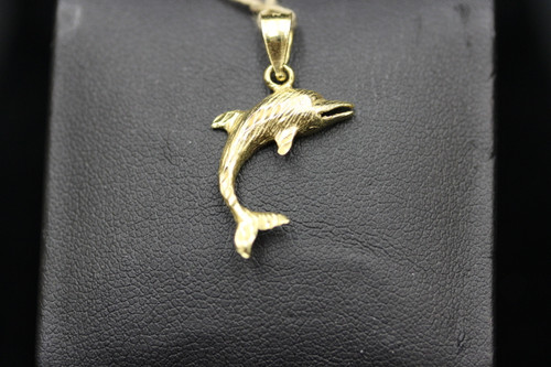 "14K Yellow Gold 1"" Dolphin Pendant"