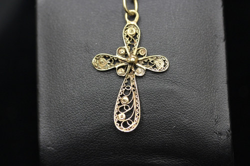14K Yellow Gold Ornate Cross Pendant