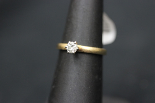 Vintage 14K Yellow Gold ArtCarved Solitaire Diamond Engagement Ring - 0.25cttw