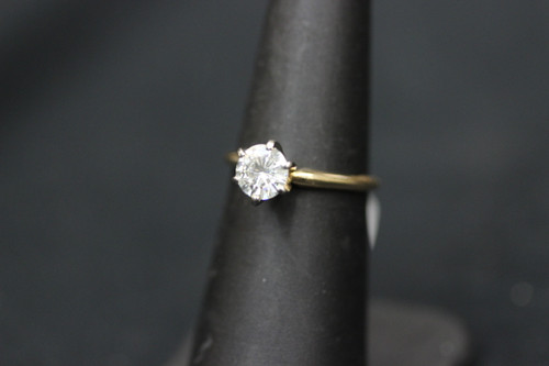 14K Yellow Gold 1ct Moissanite Solitaire Engagement Ring