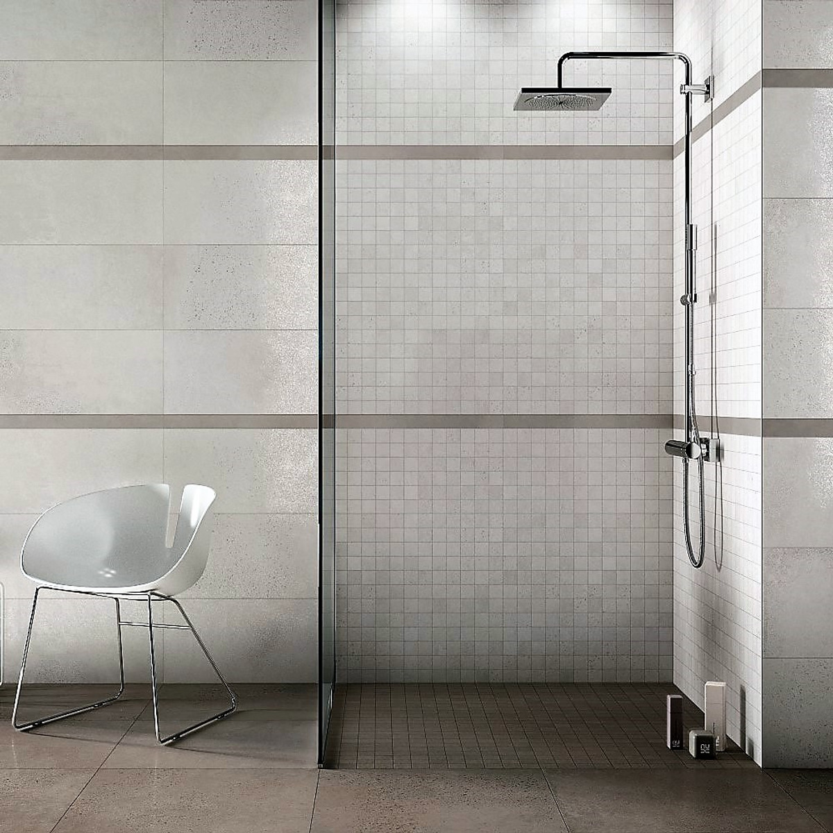 Downtown Ivory 30x60 + Downtown Ivory Mosaic 30x30 Wet Rom Bathroom Setting