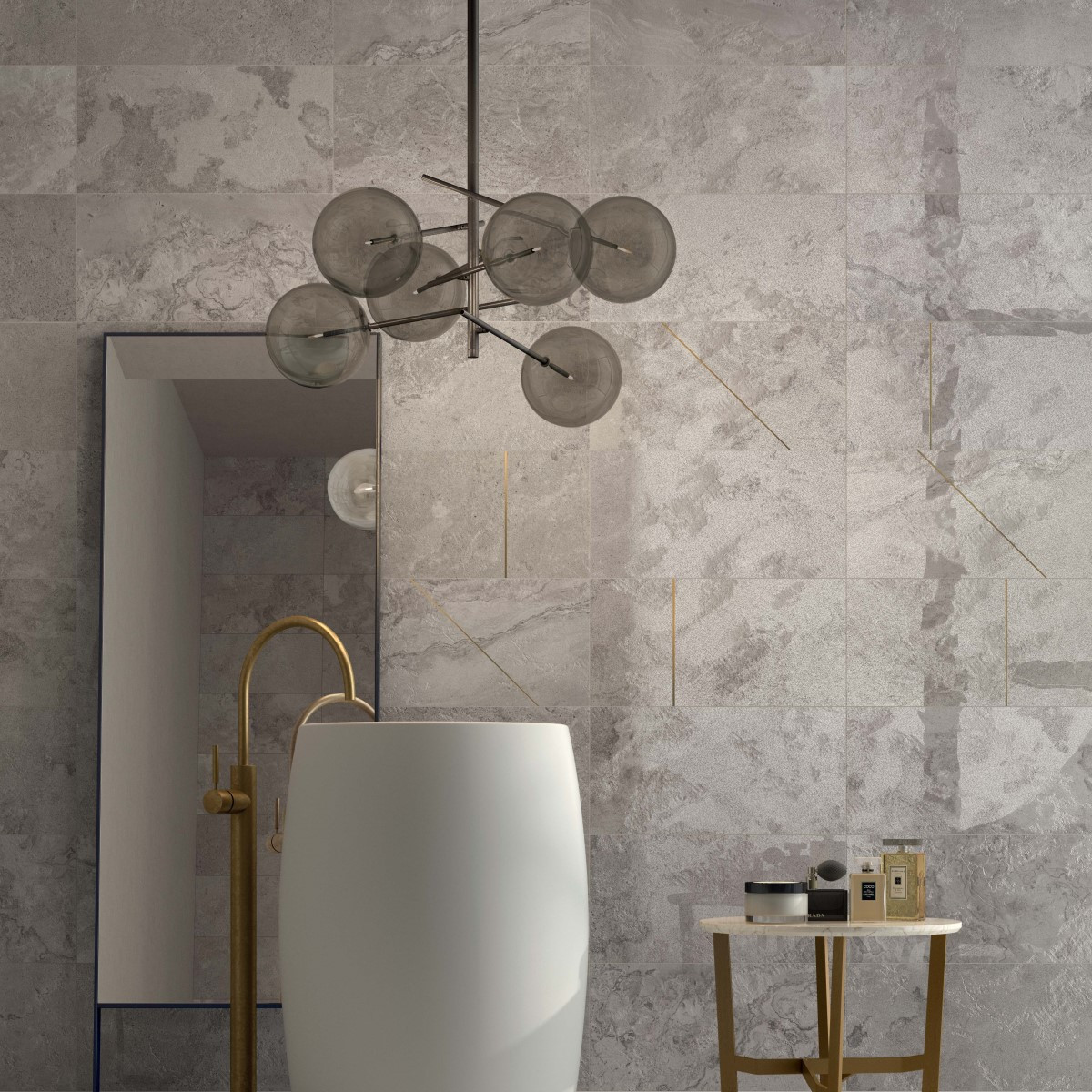 Alpes raw Grey lapp. 30x60 + Alpes dec. Sign Grey mix 2 lapp. 30x60 Italian Grey Porcelain Bathroom Wall and Floor Tile