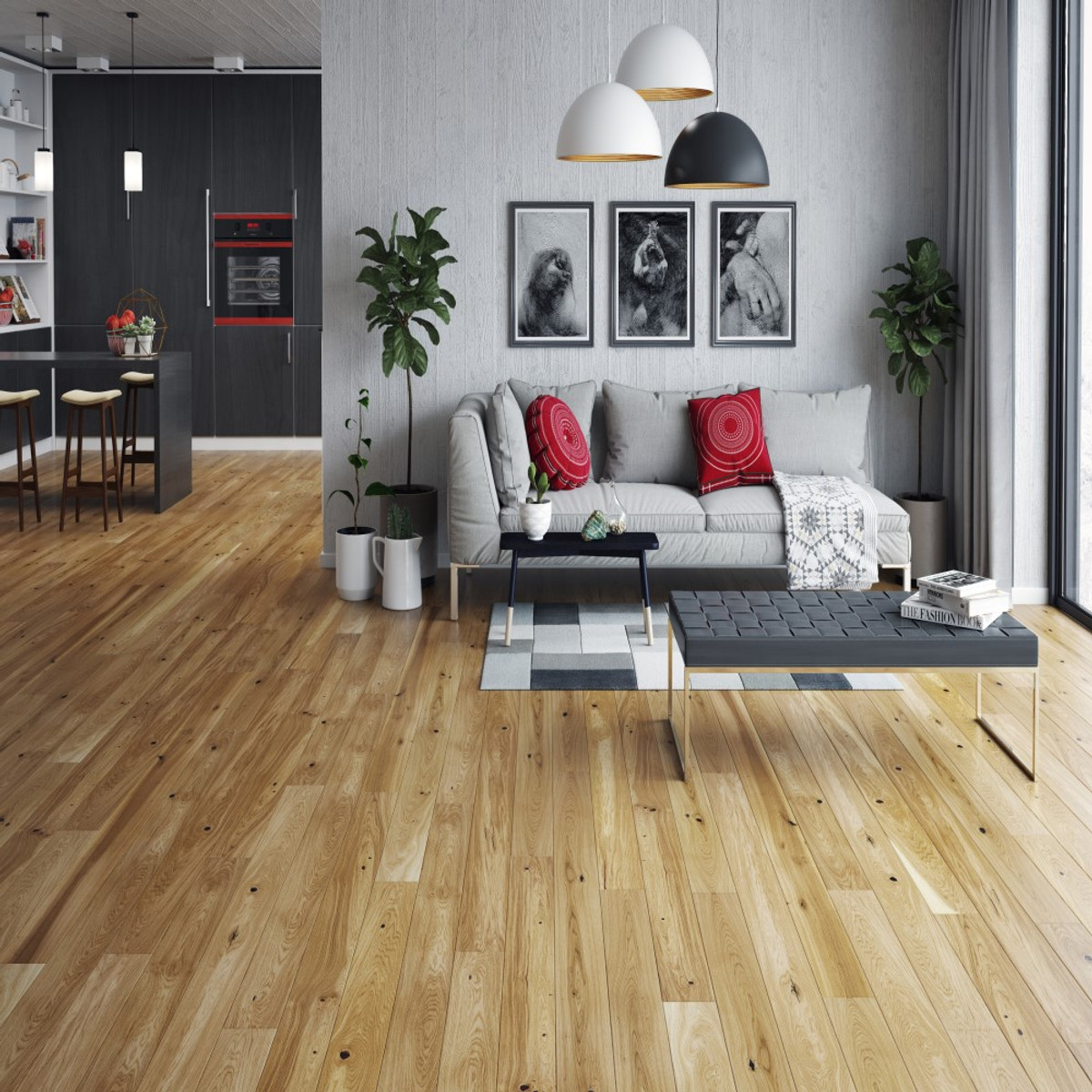 Tuscany Xpress Click Country Oak Lacq Engineered Wood Flooring ( Per 2.26m2 Pack ) www.tuscanytiles.co.uk