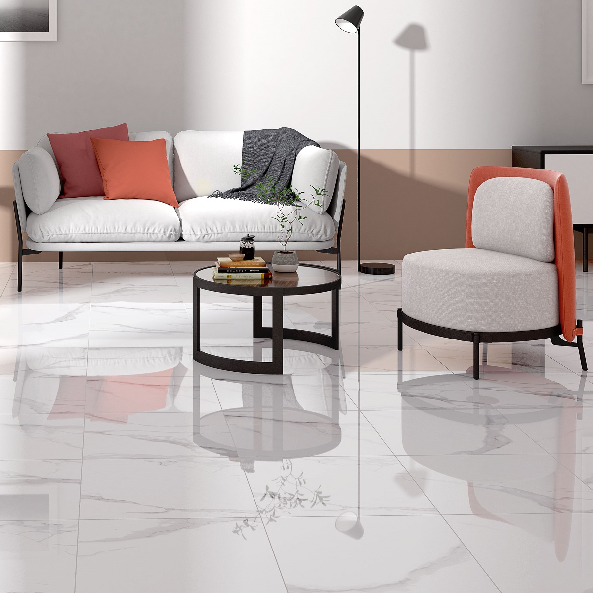 Italian Inspired Calacatta Style Marble Red Body Floor Tiles with High gloss Finish