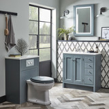 Hampton 800 with Underslung Basin, Solid Surface Worktop, Framed LED Mirror and matching WC Unit