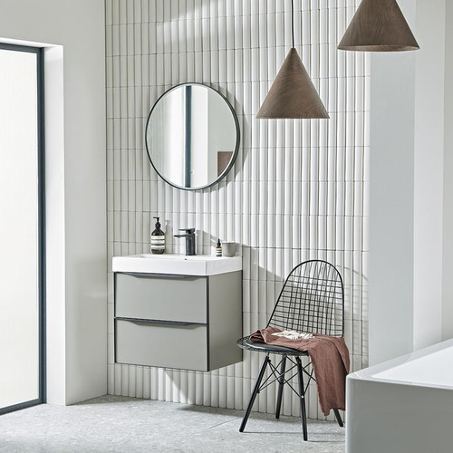 Frame 600 Matt Light Grey Wall Hung Basin Unit with Ceramic Basin