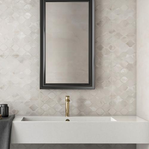 Tus Lem Perla Onix Perla Style wall tile 33x100 with Tus Lem Dec Perla 33x100 basin wall tile feature