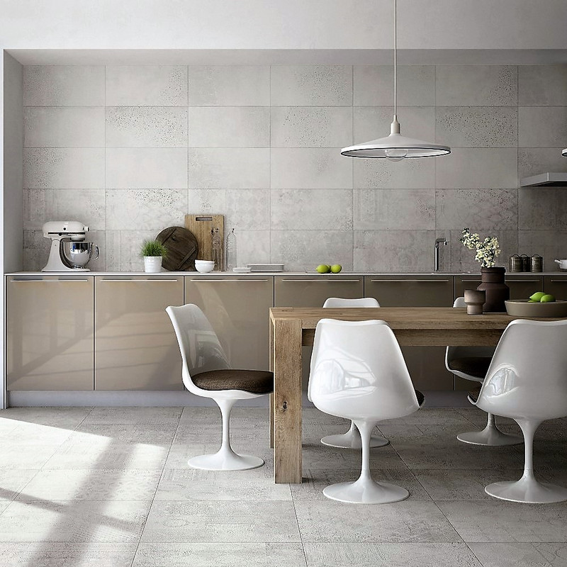 Downtown Ivory 30x60 Plain + Random Ivory 30x60 Pattern Tile.   Kitchen Wall and Floor Setting