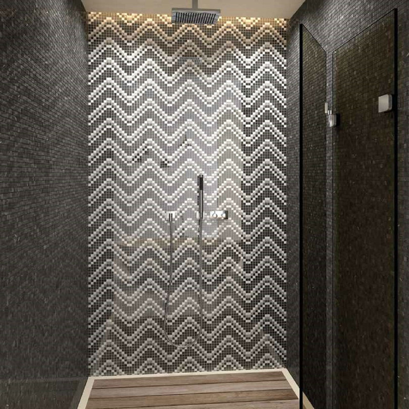 Sensi Black and White Mosaic Feature Wall Tile