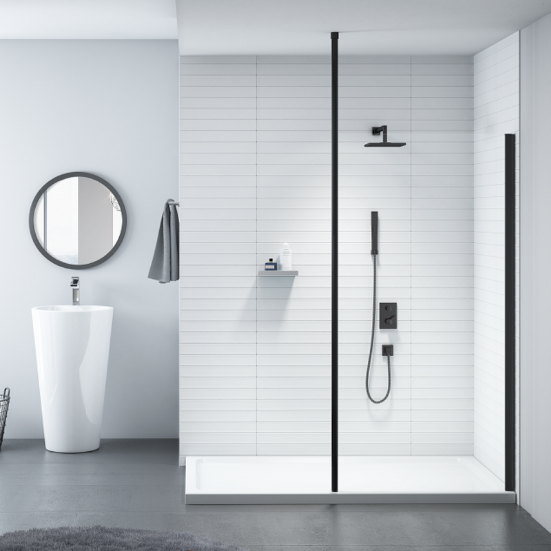 Merlyn Black Showerwall with Vertical Post