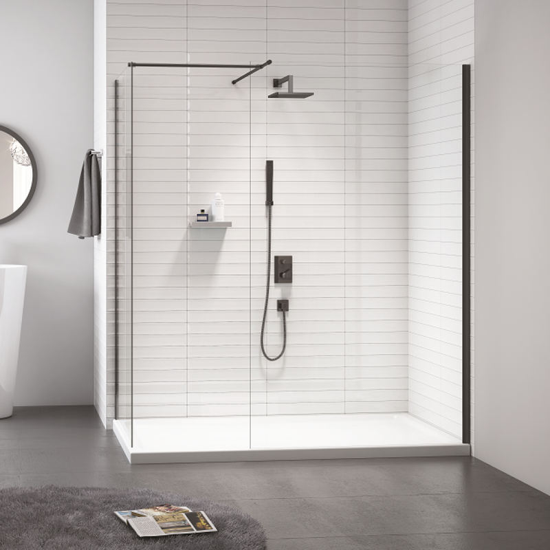 Merlyn-Black-Showerwall with End Panel