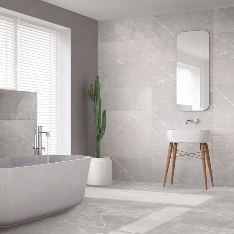Aneto Grey 1200x400 wall tile and 600x600 floor tile