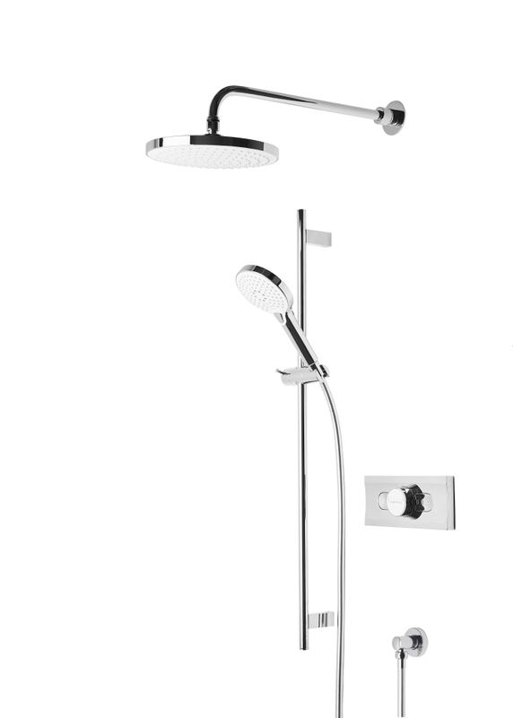 Event round dual function shower system with shower head & handset  • Dual function thermostatic diverter shower valve  • 460mm length adjustable brass fixed arm  • 220mm single function shower head  • Wave adjustable riser rail  • Single function shower handset  • Brass shower hose, wall elbow & valve cover plate    SVSET01  order in store or online today @ www.tuscanytiles.co.uk