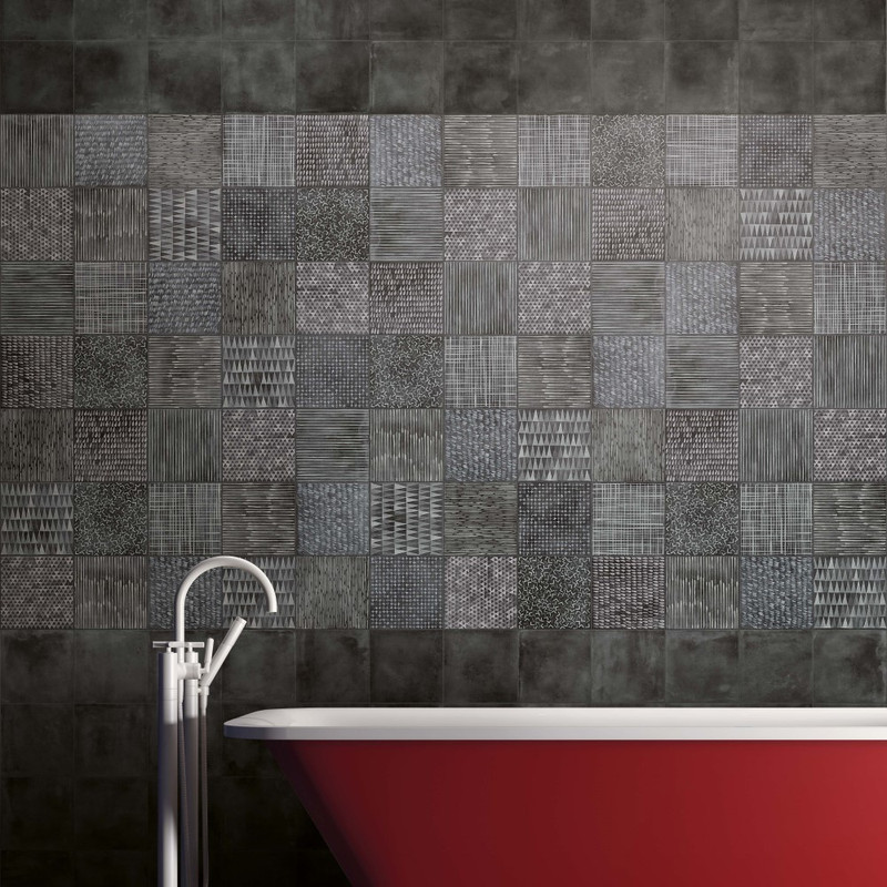 Play Etno Mix Dark with Heritage Dark 20x20 Wall / Floor Tile. Featuring Red Free Standing Bath and Tap