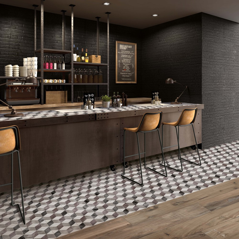 Play Classic Brown with Do Up Street Black 60x120 Wall / Floor Tile Plus Nest Oak Plant 20x120 Floor Tile
