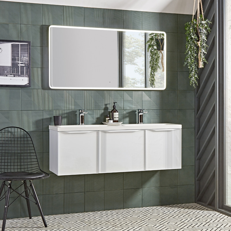 Frame Gloss White Three Drawer Wall Hung Basin Unit with Isocast Basin