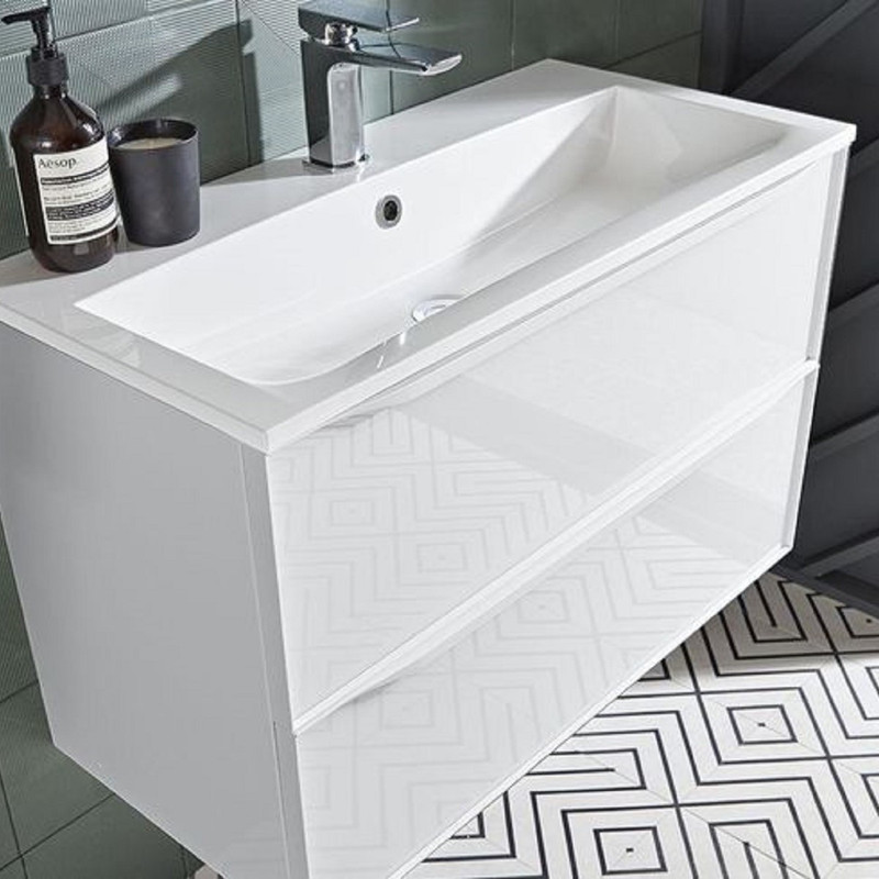 Frame 800 Two Drawer Gloss White Wall Mounted Bathroom Unit with White Isocast Basin