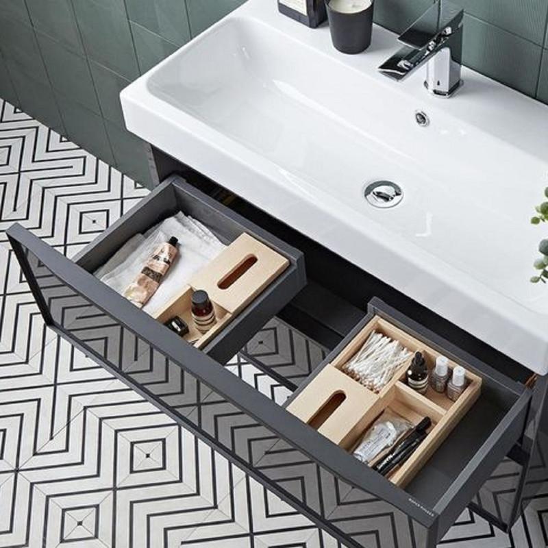 Frame 800 Dark Grey Gloss, Wall Hung, Two Drawer Bathroom Unit with Gloss White Ceramic Basin
