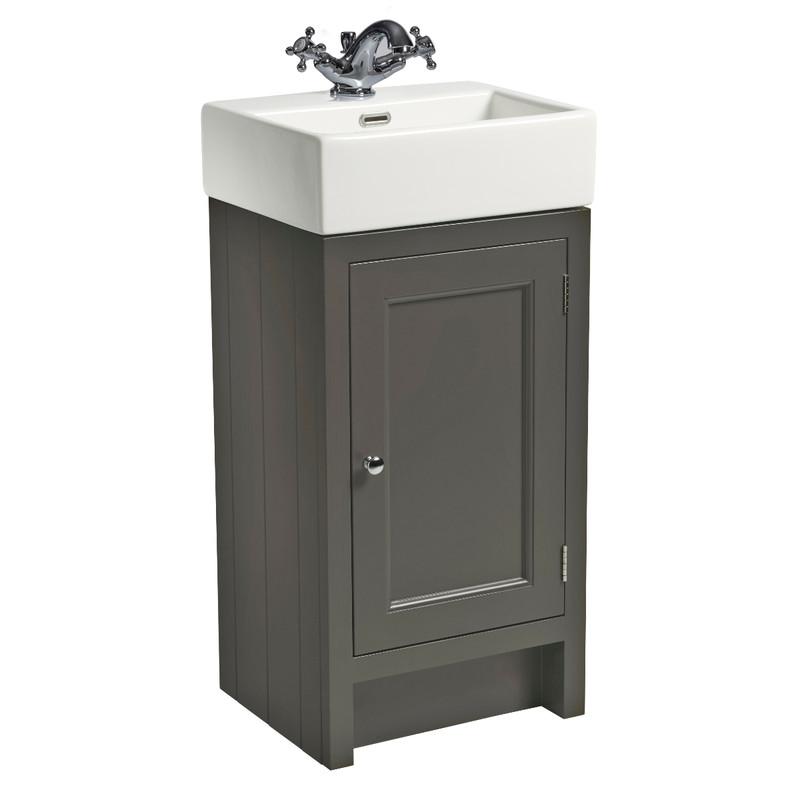 Hampton 400 Cloakroom Basin Unit - Pewter