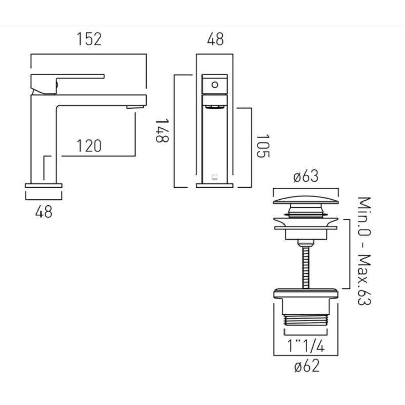 Notion Slimline Mono Basin Mixer with Universal Waste