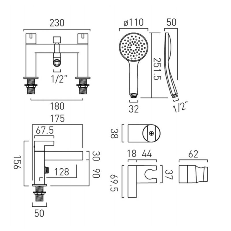 Edit  Bath Shower Mixer with Shower Kit