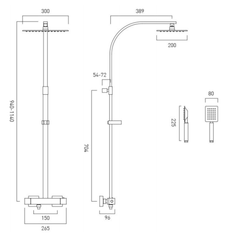 Aquablade Square Shower Column