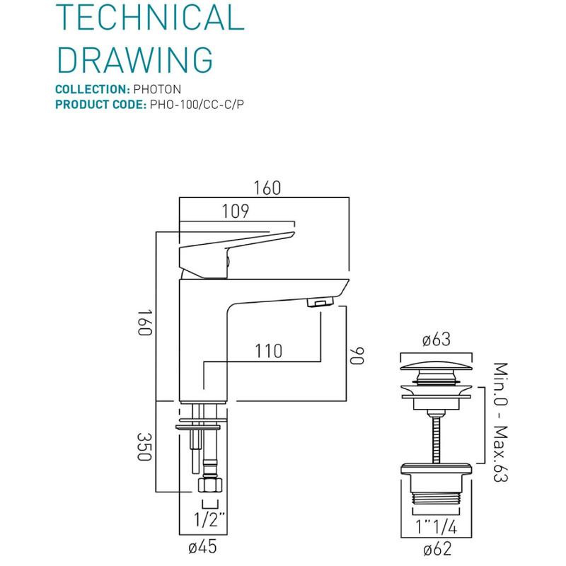 Photon Mono Basin Mixer with Universal Waste